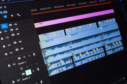 Video editing time line on computer screen