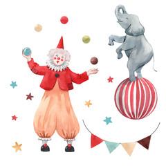Watercolor circus clown vector set