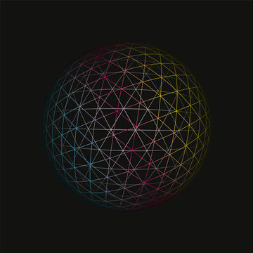 Colored spherical 3D background pattern. Geometric vector illustration