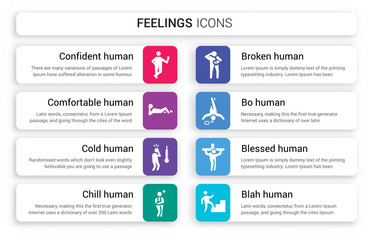 Set of 8 white feelings icons such as confident human, comfortable cold chill broken bo human isolated on colorful background