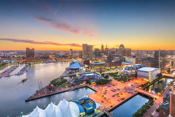 Wall Mural - Baltimore, Maryland, USA skyline of the Inner Harbor