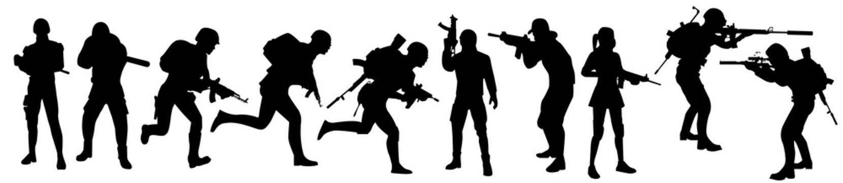 Silhouettes of the military, a large collection. Computer games concept. Set of people in uniform with a weapon. Special force. Silhouettes set
