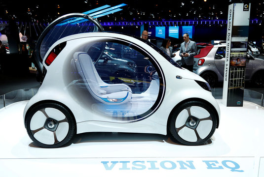A Smart concept autonomous car Vision EQ fortwo model is pictured at Brussels Motor Show
