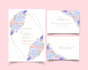 floral wedding invitation with hydrangea, succulent, and muscari  flower
