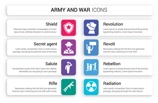 Set of 8 white army and war icons such as Shield, secret agent, Salute, Rifle, Revolution, Revolt isolated on colorful background
