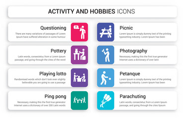 Set of 8 white activity and hobbies icons such as Questioning, Pottery, Playing Lotto, Ping pong, Picnic, Photography isolated on colorful background
