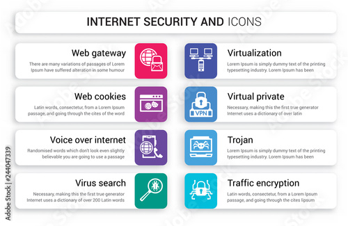 Set of 8 white internet security and icons such as web