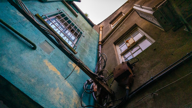 Backstreet corner of two old irish buildings
