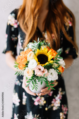 Very Nice Young Woman Holding Beautiful Blossoming Bouquet