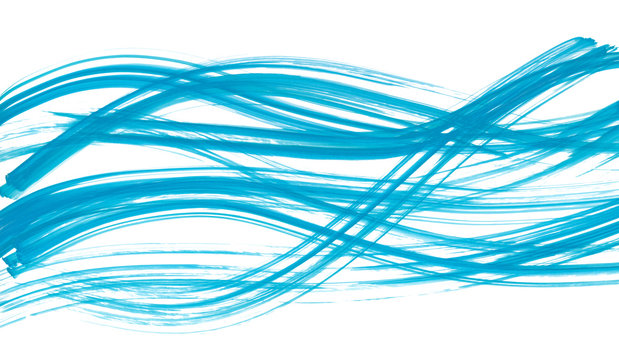 Watercolor hand painted brush strokes. Abstract blue lines background. Vivid aquarelle waves. Sea pattern. Web banner