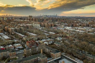 Aerial of Queens New York City