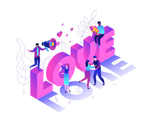 Valentines Day - modern colorful isometric vector illustration