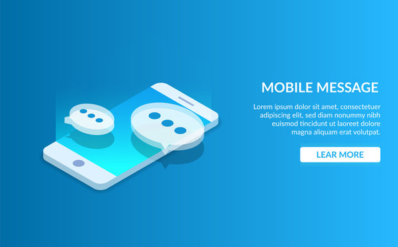 Mobile messenger. Communication using a smartphone. Speech bubble on the background of a portable device. Modern vector illustration isometric style on blue background.