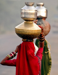 Village women carry vessels of drinking water in Palwal.