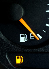 The fuel gauge of a car in Sydney indicates a lack of fuel.