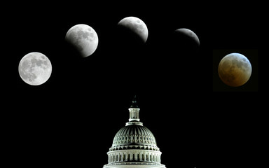 Composite photo picturing the lunar eclipse in the sky over Washington DC.