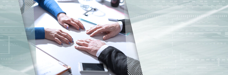 Business negotiation between businesswoman and businessman. panoramic banner