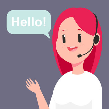 Girl consultant in customer service. Vector cartoon illustration of woman call center operator in headset and speech bubble isolated on background.