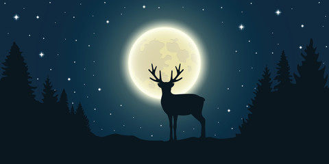 lonely reindeer in forest at full moon and starry sky vector illustration EPS10