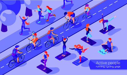 Isometric flat design concept of sport activities. Bicyclists, runners and yoga people. Men and women in park.