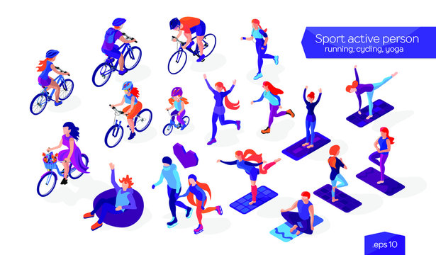 Set of sport active persons. Isometric flat characters collection. People on a white background. Cycling, running, ice-skating and yoga