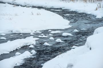 stream flowing among snow at winter day