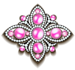 Illustration of silver brooch with pink pearls