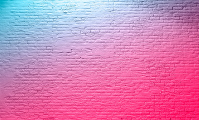 brick wall neon pink blue Rustic Texture. Retro used Vintage Structure. Grungy Shabby neon...