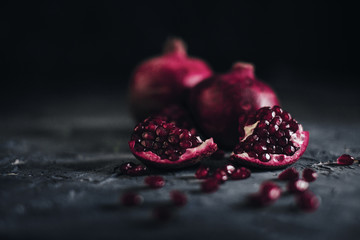 Pomegranate fruit on blue background