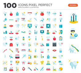 100 Set of icons such as Tooth, Toothbrush, Dentist, Hygiene, Implants, Dentist chair, Braces, Floss, Decay