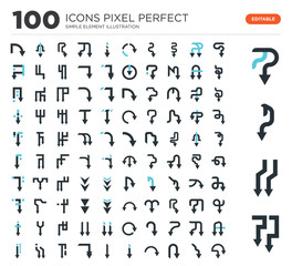 100 Set of icons such as Down arrow, arrow