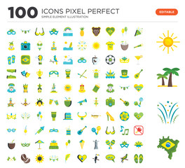 100 Set of icons such as Brazil, Fireworks, Palm tree, Sun, Confetti, Parrot, Olá, Toucan, Heart, Feather