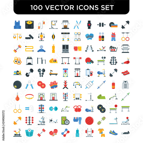 67c9d99f Set of 100 Vector icons such as Barbell, Gym shoes, clothes, Machine,  Bottle, Dumbbell, Boxing glove, Weight scale, Bicycle