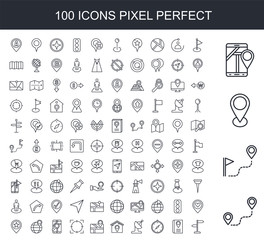 100 line icon set. Trendy thin and simple icons such as Route, Placeholder, Smartphone, Flag, Location, Compass, Satellite dish, House, Map