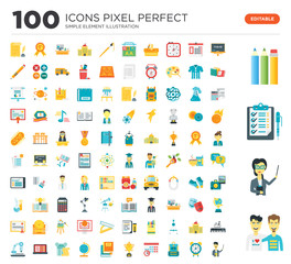 100 Set of icons such as Friends, Teacher, Checklist, Pencils, Chalkboard, Alarm clock, Backpack, Timetable, Trophy, Books