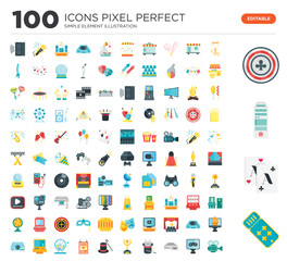 100 Set of icons such as Ticket, Playing cards, Pc tower, Poker, Puppet, game, Dvd player, Magic, Award, Entertainer