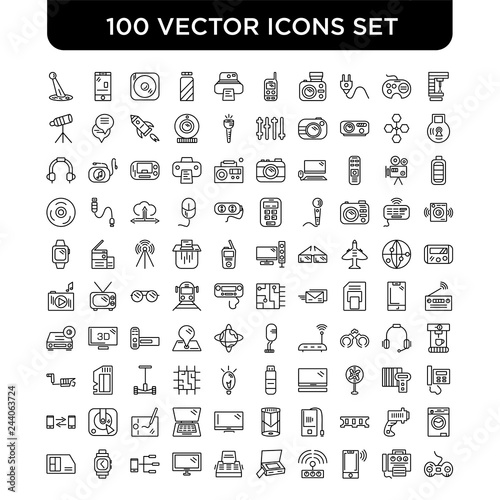 Outline set of 100 Vector line icons such as Laser Machine