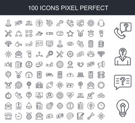 100 line icon set. Trendy thin and simple icons such as Solution, Question, Telephone, Headset, Wrench, List, At, Conversation