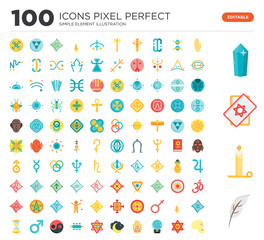 100 Set of icons such as Quill, Candle, Tarot, Crystal, Palm, Esoteric, Crystal ball, Hand, Moon, Eye