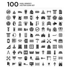 100 pack of Architecture, Trowel, Idea, Light, Gate, Monitor, Measuring tape, Calculator, Wheelbarrow, Certificate icons, universal icons set