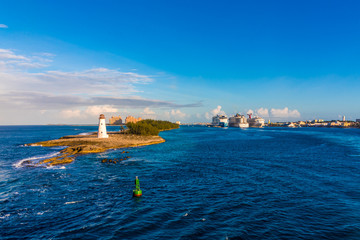 Bahamas Lighthouse with Cruise Ships