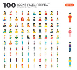 100 Set of icons such as Korean, Japanese, Chinese, Mexican man, Indian, Saudi, Thai