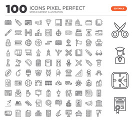 Set of 100 linear icons such as Diploma, Clock, Graduate, Scissors, Agenda, Watercolor, Teacher desk, Computer, Violin, Ebook