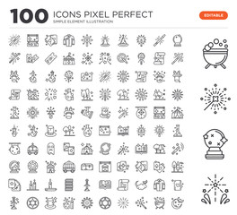 Set of 100 linear icons such as Fireworks, Crystal ball, Magic, Cauldron, Magic wand, Pentagram, Fireworks