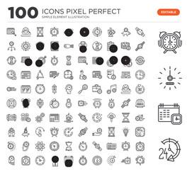 Set of 100 linear icons such as 24 hours, Calendar, Wall clock, Alarm Watch, Stopwatch, Calendar