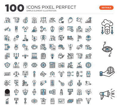 100 Set of icons such as Megaphone, Coin, Bionic contact lens, Crowdfunding, Growth, Contract, Money, Stock, Crowdfunding