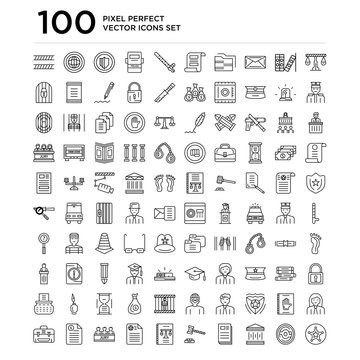 100 linear pack of Libra, Fingerprint, Courthouse, Newspaper, Gavel, Law book, Agreement, Jury, Act, Portfolio line icons, universal thin stroke icons set