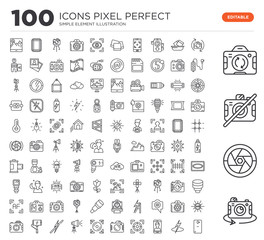 Set of 100 linear icons such as Rotate, Lens, No camera, Flash, Front Focus, Camera, Focus