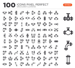 Set of 100 icons such as Pipes, Pipes