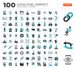 100 Set of icons such as Augmented reality, Exchange, Motion sensor, Chain, Algorithm, Electro car, Brand Engagement, Outsourcing, Hashtag, Lead Conversion
